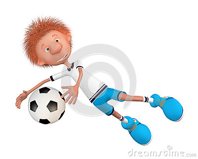 The football player on training