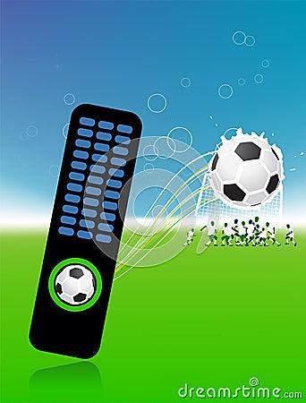 Football players on field, soccer ball