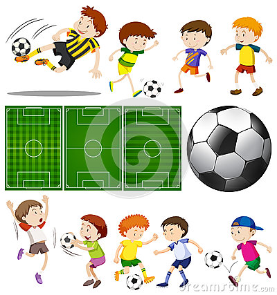 Free Football Players In Different Actions And Football Fields Stock Photos - 91476333