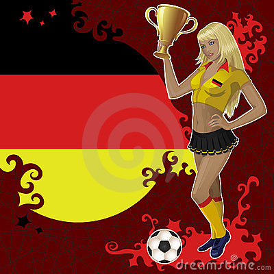 Football poster with girl and German  flag