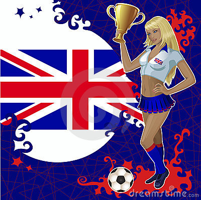 Football poster with girl and Great Britain flag