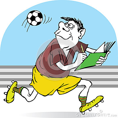 Football referee records in a notebook flight of t