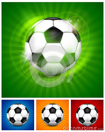 Football (soccer) ball on color