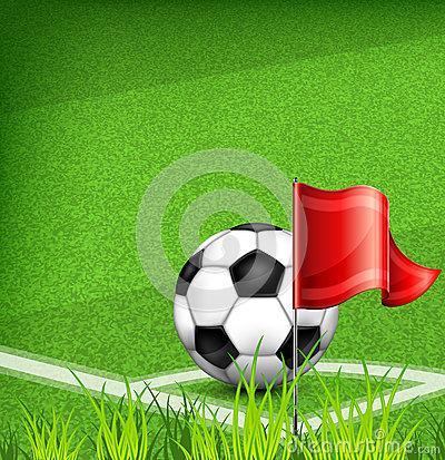 Football (soccer) ball on corner of field and flag