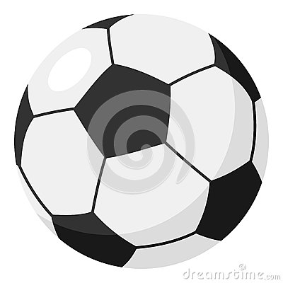 Football or Soccer Ball Flat Icon on White Vector Illustration