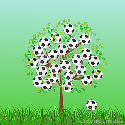 Football or soccer ball on grass