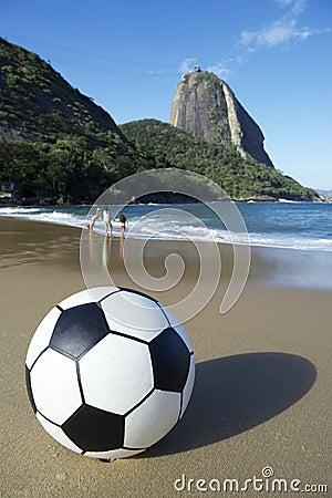 Football Soccer Ball Red Beach Sugarloaf Rio de Janeiro Brazil