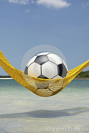 Free Football Soccer Ball Relaxing In Beach Hammock Royalty Free Stock Images - 36259369