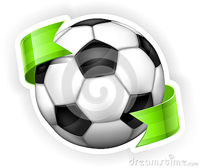 Football (soccer) ball with ribbon