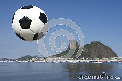 Football Soccer Ball Rio de Janeiro Sugarloaf Mountain Brazil