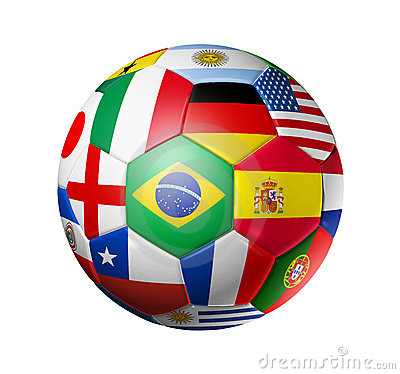 Free Football Soccer Ball With World Teams Flags Royalty Free Stock Photography - 19477067
