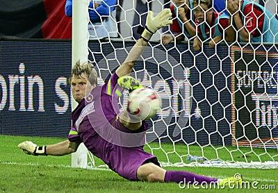 Football or soccer goalkeeper action