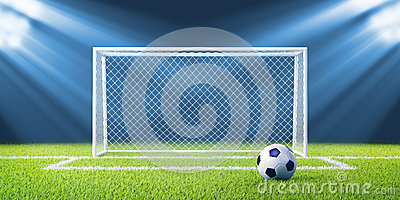 Football (soccer) goals and ball on clean empty gr