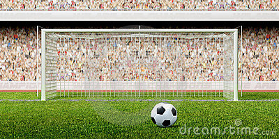 Football soccer penalty in the stadium