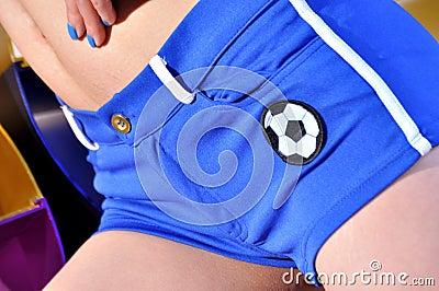 Football on sport short pants