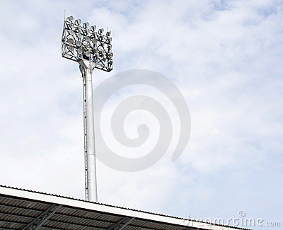 A football stadium floodlight
