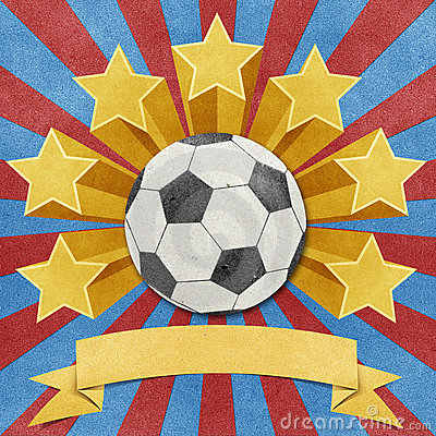 Football star recycled papercraft background