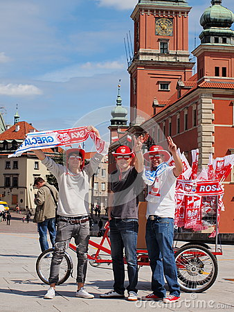 Football supporters in Warsaw Editorial Image