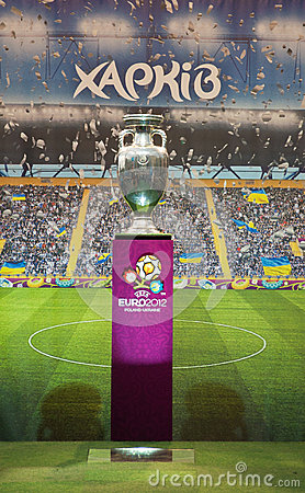 Football trophy on May 17, 2012 in Kharkov Editorial Stock Image