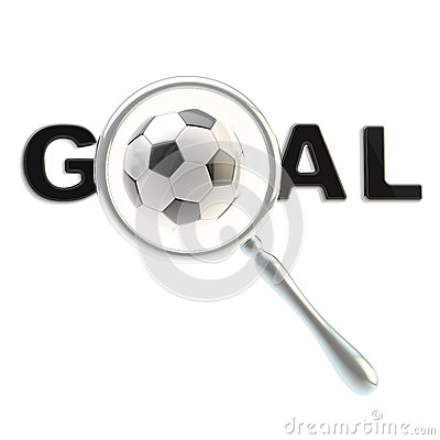 Football word goal under the magnifier