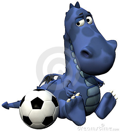 Footballer dino baby dragon blue - ball on tail