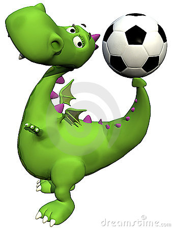 Footballer dino baby dragon green - ball on tail