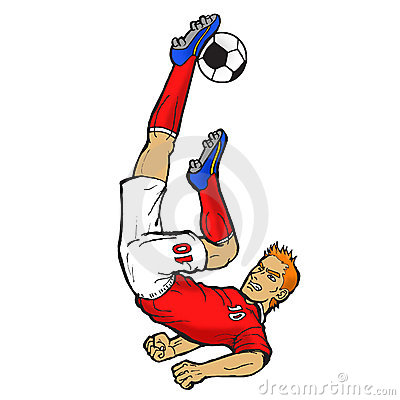 Footballer doing bicycle kick