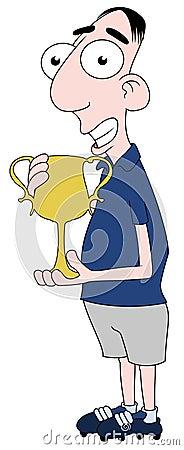 Footballer holding trophy