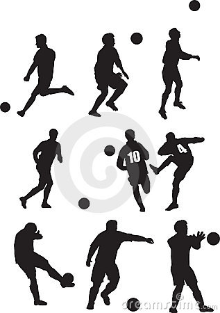 Footballer silhouette set