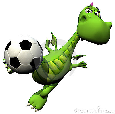 Footballer soccer player flying head - baby dragon