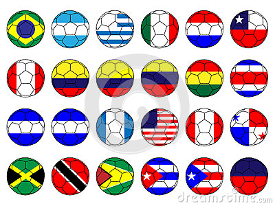 Footballs with Flags of the Americas