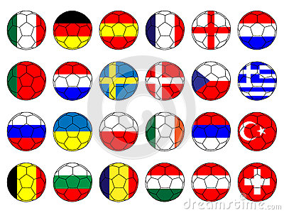 Footballs with Flags of Europe