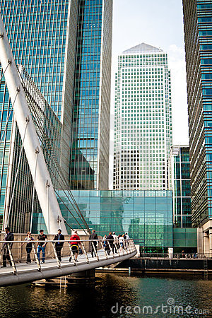 Footbridge at Canary Wharf Editorial Stock Image
