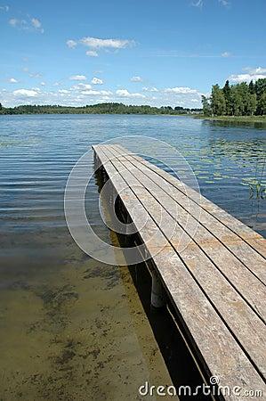 Footbridge on lake
