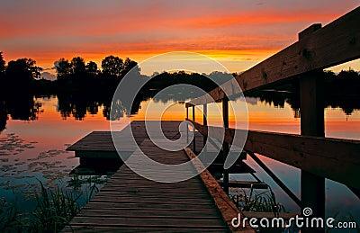Footbridge in lake