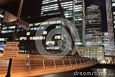 Footbridge to Canary Wharf at night Editorial Photo