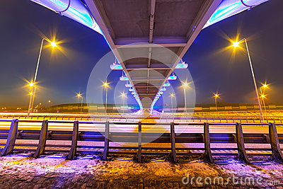 Foothpath bridge over bypass of Gdansk
