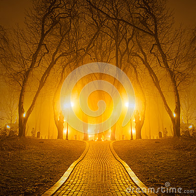 Footpath in a fabulous autumn city park