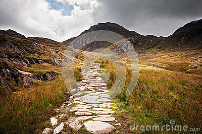Footpath in landscape to mountains in Snowdonia