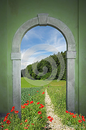 Free Footpath Through Arched Door, Spring Landscape Royalty Free Stock Photography - 38890967