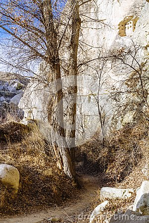 Footpath in Valley near Göreme, Cappadocia, in Central Turkey Stock Photo