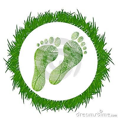 Footprint around grass