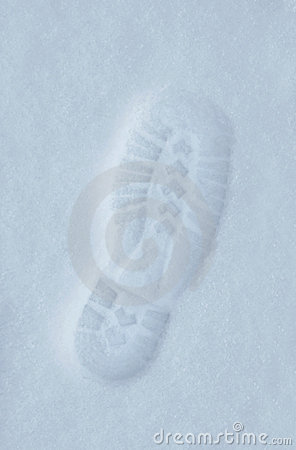 Footprint in pure snow