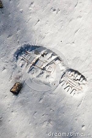 Footprint/Rock in Snow