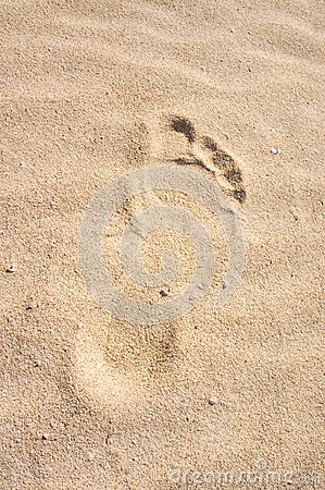 Footprint in sand. Dune, Fuerteventura.