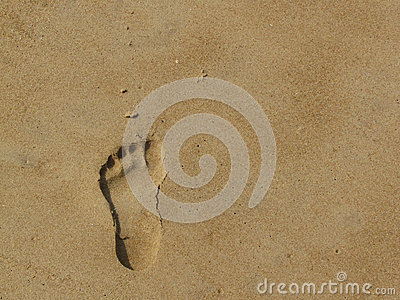 Neat footprint on the sand