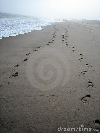 Footprints on beach
