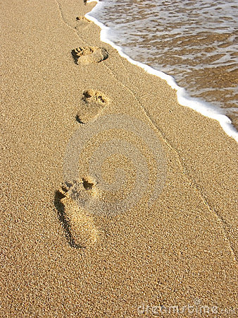 Free Footprints On Sand Stock Images - 1232224