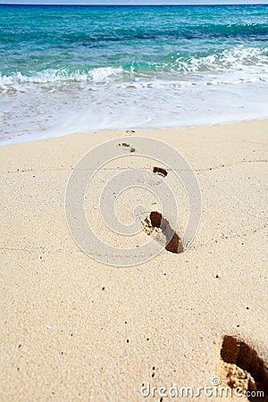 Footprints on a sand