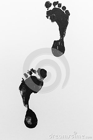 Free Footprints Two Paint Black+White Stock Photography - 34504462